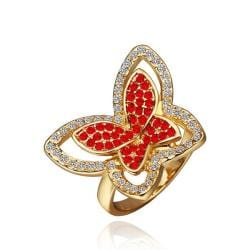Vienna Jewelry Gold Plated Ruby Red Flying Butterfly Ring Size 8 - Thumbnail 0