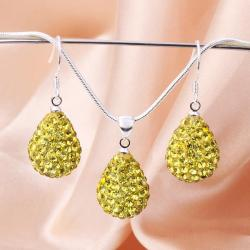 Vienna Jewelry Austrian Crystal Element Solid-Pave Pear Earring and Necklace Set-Yellow Crystal