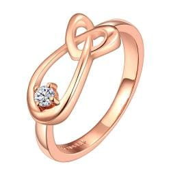 Vienna Jewelry Rose Gold Plated Abstract Curved Matrix Loop Ring Size 7 - Thumbnail 0