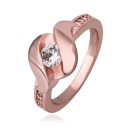 Vienna Jewelry Rose Gold Plated Lock Design with Crystal Jewel Ring Size 7 - Thumbnail 0