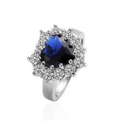 Vienna Jewelry White Gold Plated Blossoming Saphire Ring Size 8 - Thumbnail 0