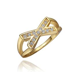 Vienna Jewelry Gold Plated Crystal Jewels Swirl Ring Size 8 - Thumbnail 0
