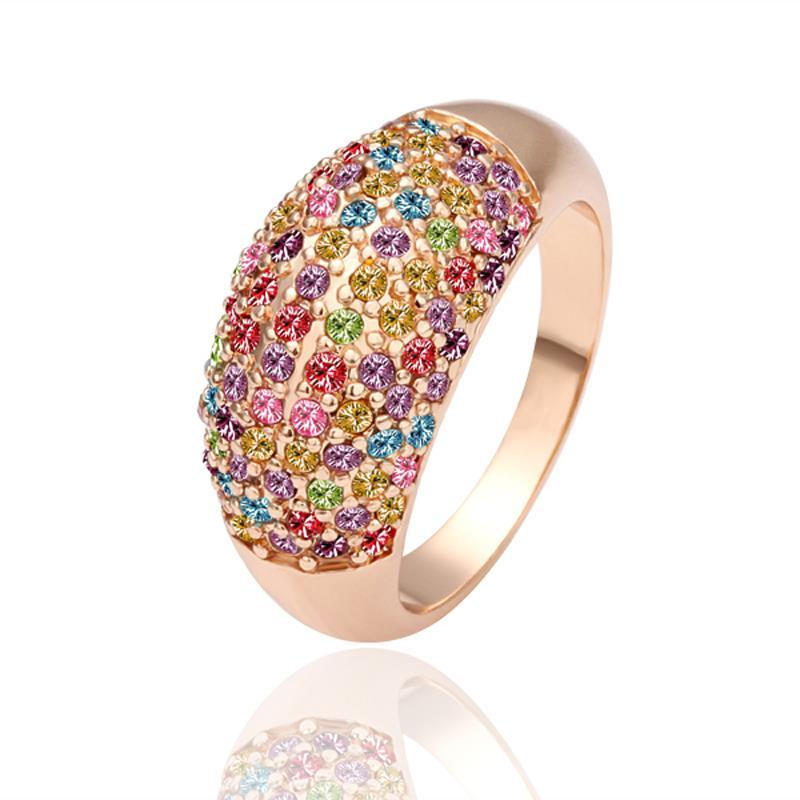 Vienna Jewelry Rose Gold Plated Rainbow Jewels Covering Ring Size 7