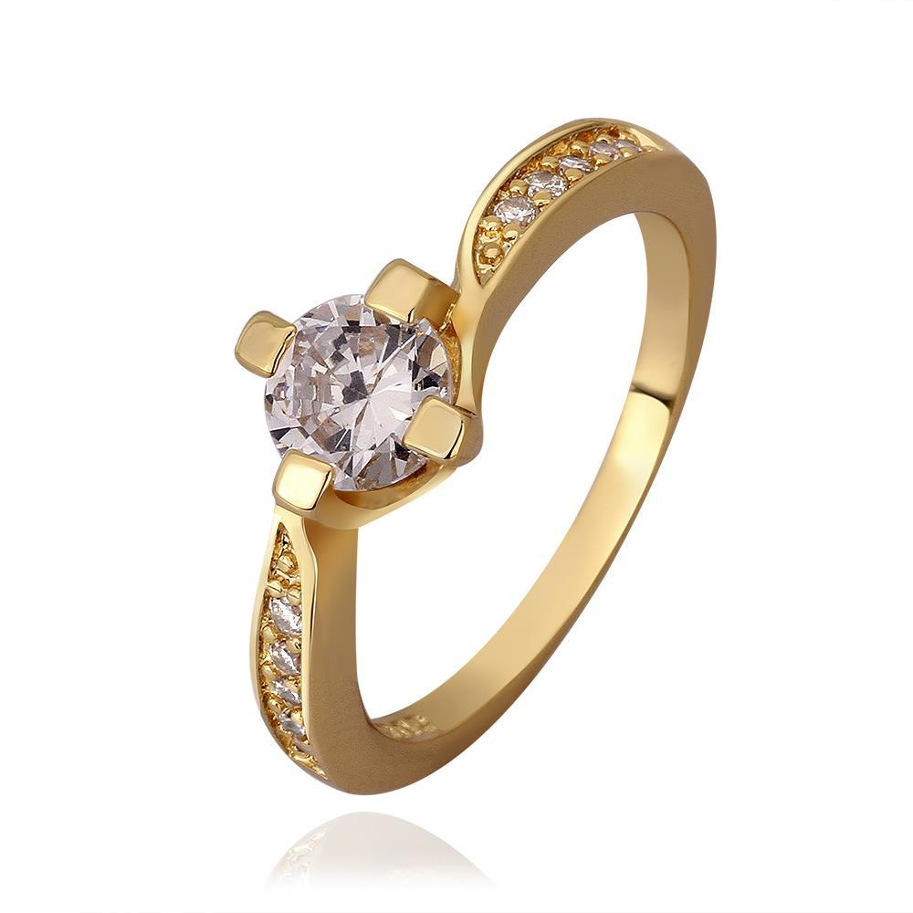 Vienna Jewelry Gold Plated Petite Ring with Crystal Center Size 7