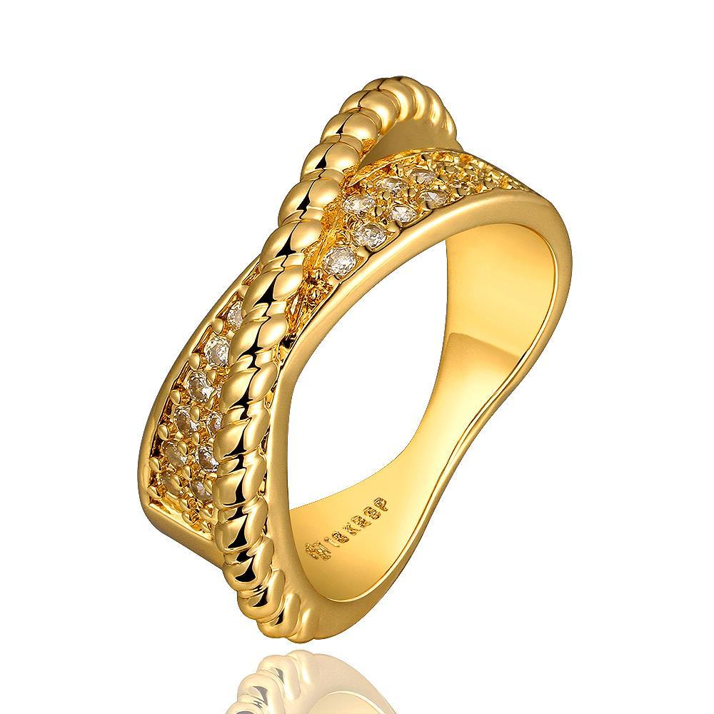 Vienna Jewelry Gold Plated Curved Bead Line Ring Size 8