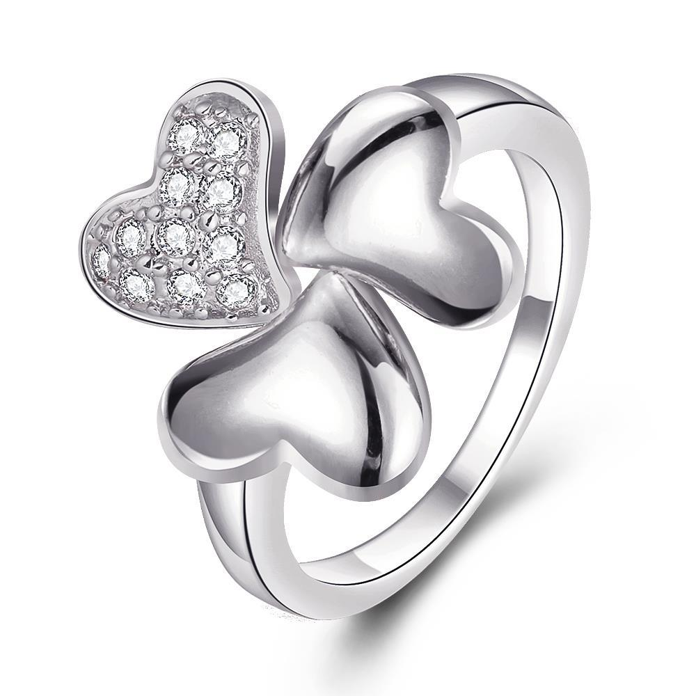 Vienna Jewelry White Gold Plated Petite Clover Stud Ring Size 7
