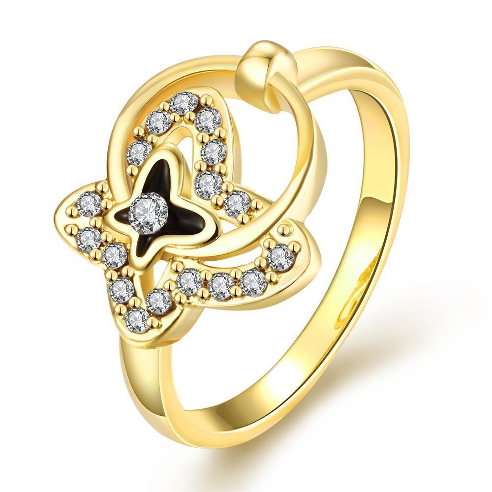 Vienna Jewelry Gold Plated Petite Circular Butterfly Ring Size 8