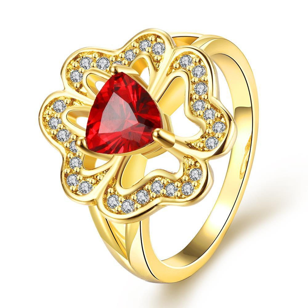 Vienna Jewelry Gold Plated Triangular Ruby Clover Shaped Ring Size 7