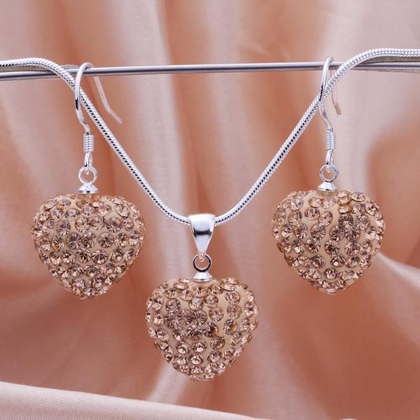 Vienna Jewelry Austrian Crystal Element Solid-Pave Heart Earring and Necklace Set-Brown Crystal