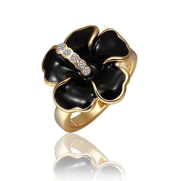 Vienna Jewelry Gold Plated Onyx Classic Floral Ring Size 8