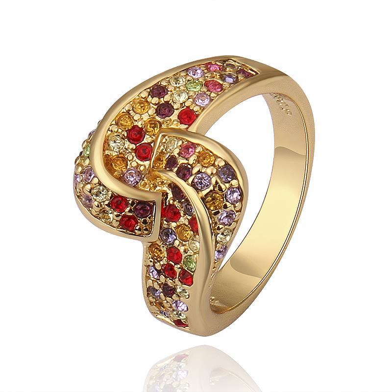 Vienna Jewelry Gold Plated Matrix Swirl Love-Knot Ring Covered with Rainbow Jewels Ring Size 8