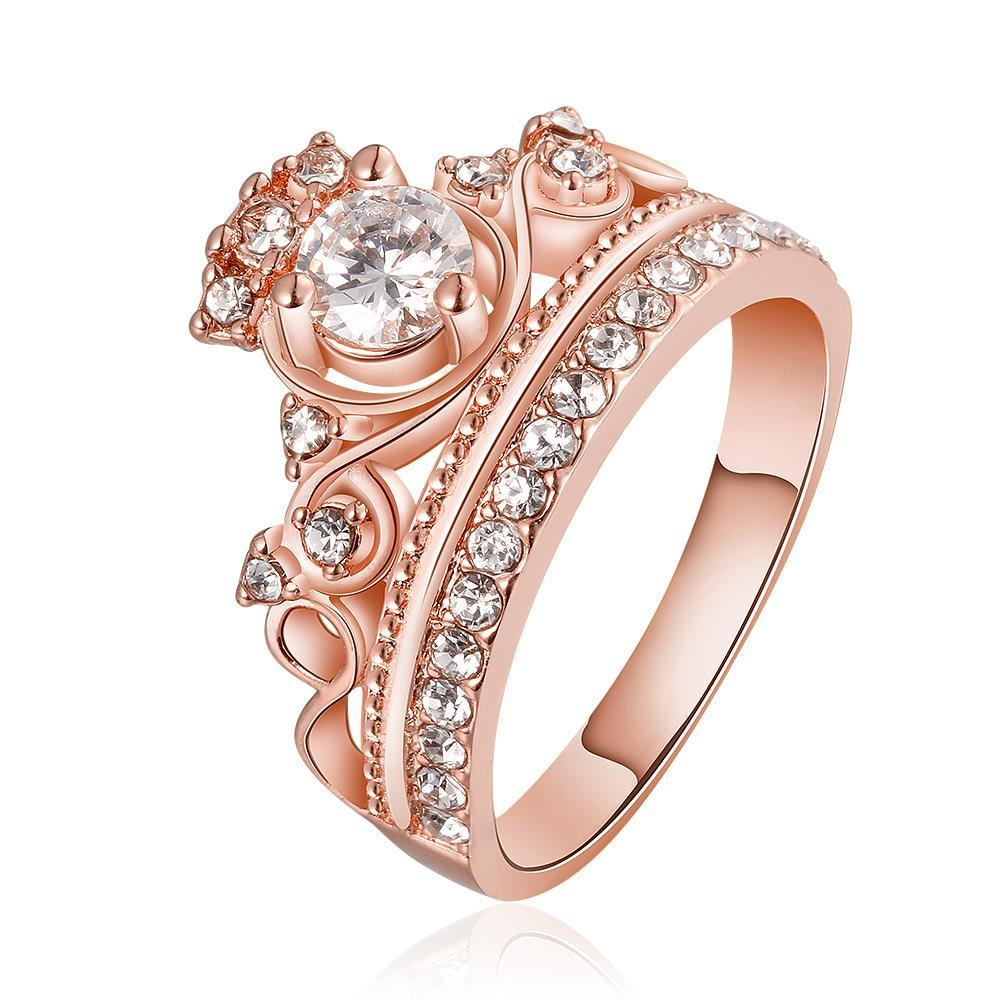 Vienna Jewelry Rose Gold Plated The Queen's Crown Ring Size 8