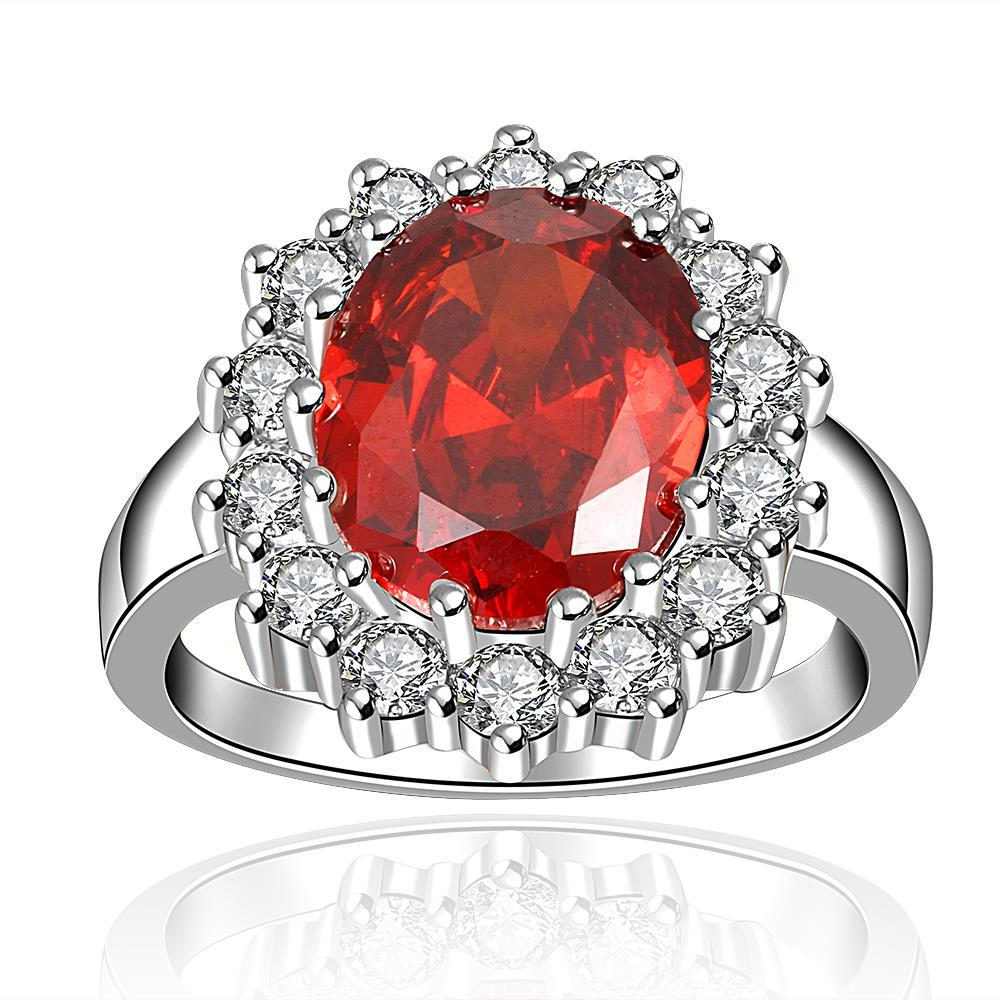 Vienna Jewelry Ruby Red Swarvoski Inspired Encrusted Ring Size 8