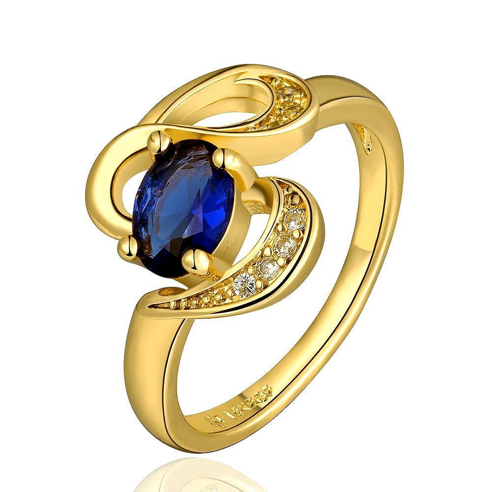 Vienna Jewelry Gold Plated Swirl Saphire Design Ring Size 7