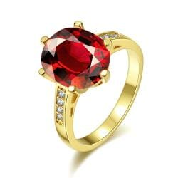 Vienna Jewelry Gold Plated Medium Cut Ruby Red Ring Size 8 - Thumbnail 0