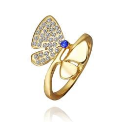 Vienna Jewelry Gold Plated Ruby Diamond Jewels Covering Butterfly Ring Size 8 - Thumbnail 0