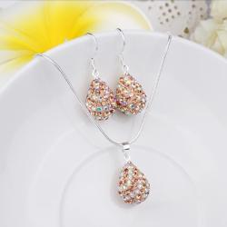 Vienna Jewelry Austrian Crystal Element Multi-Pave Pear Earring and Necklace Set-Light Brown