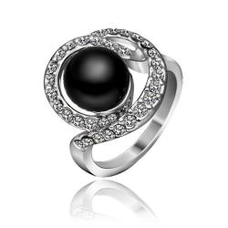 Vienna Jewelry White Gold Plated Swirl Onyx Gem Ring Size 8 - Thumbnail 0