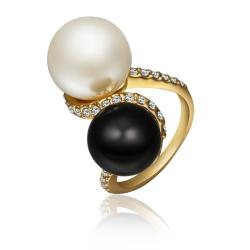 Vienna Jewelry Gold Plated Double Pearl & Onyx Swirl Ring Size 8 - Thumbnail 0
