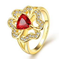 Vienna Jewelry Gold Plated Triangular Ruby Clover Shaped Ring Size 7 - Thumbnail 0