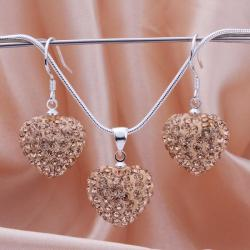 Vienna Jewelry Austrian Crystal Element Solid-Pave Heart Earring and Necklace Set-Brown Crystal - Thumbnail 0