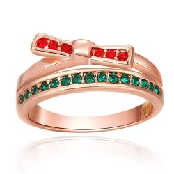 Vienna Jewelry Rose Gold Plated Ruby & Emerald Swirl Ring Size 8 - Thumbnail 0