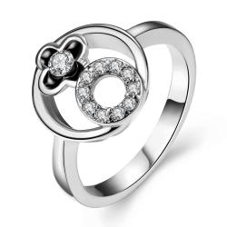 Vienna Jewelry White Gold Plated Circle Emblem Within Ring Size 7 - Thumbnail 0