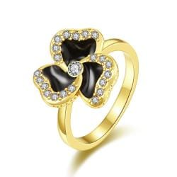 Vienna Jewelry Gold Plated Twister Clover Shaped Ring Size 7 - Thumbnail 0