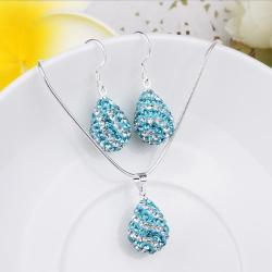 Vienna Jewelry Austrian Crystal Element Multi-Pave Pear Earring and Necklace Set-Teal Blue