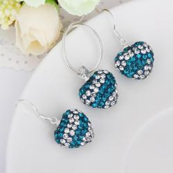 Vienna Jewelry Austrian Crystal Element Multi-Pave Heart Drop Earring and Necklace Set-Teal Blue Crystal