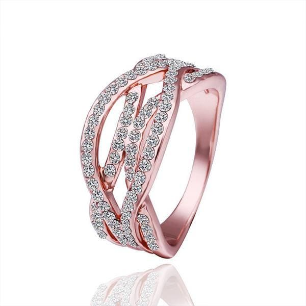 Vienna Jewelry Rose Gold Plated Linear Cutting Ring Size 8 - Thumbnail 0