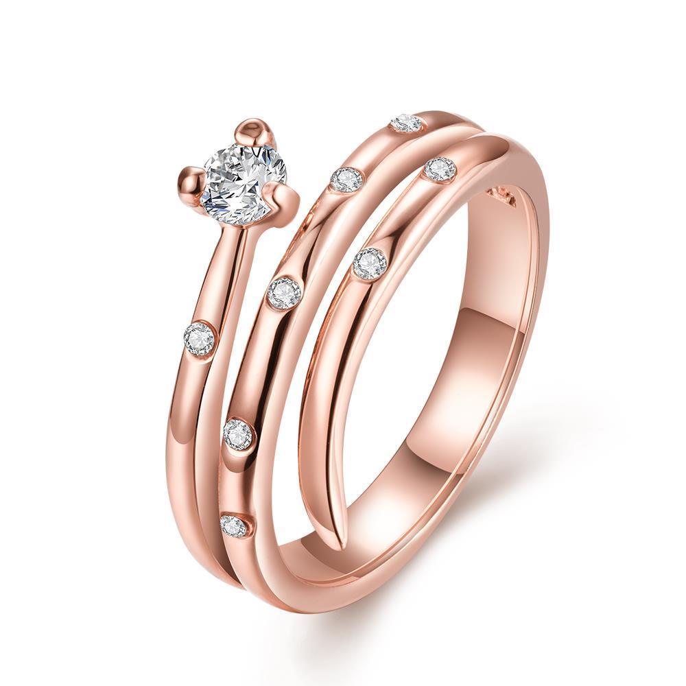 Vienna Jewelry Rose Gold Plated Circular Design Swirl Ring Size 7