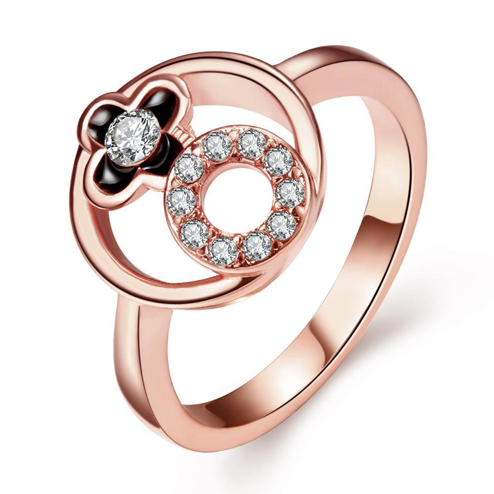 Vienna Jewelry Rose Gold Plated Circle Emblem Within Ring Size 7