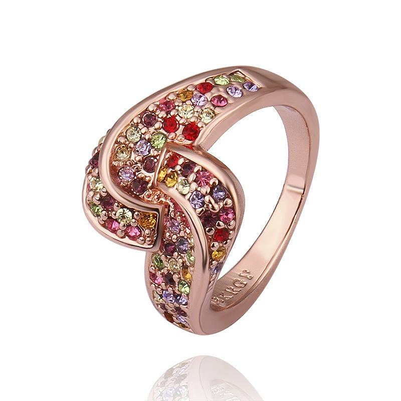 Vienna Jewelry Rose Gold Plated Matrix Swirl Love-Knot Ring Covered with Rainbow Jewels Ring Size 8