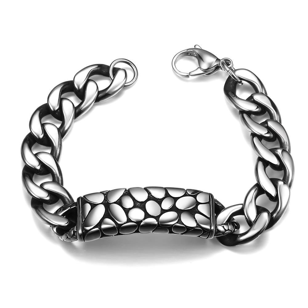 Vienna Jewelry Animal Skin Emblem Stainless Steel Bracelet