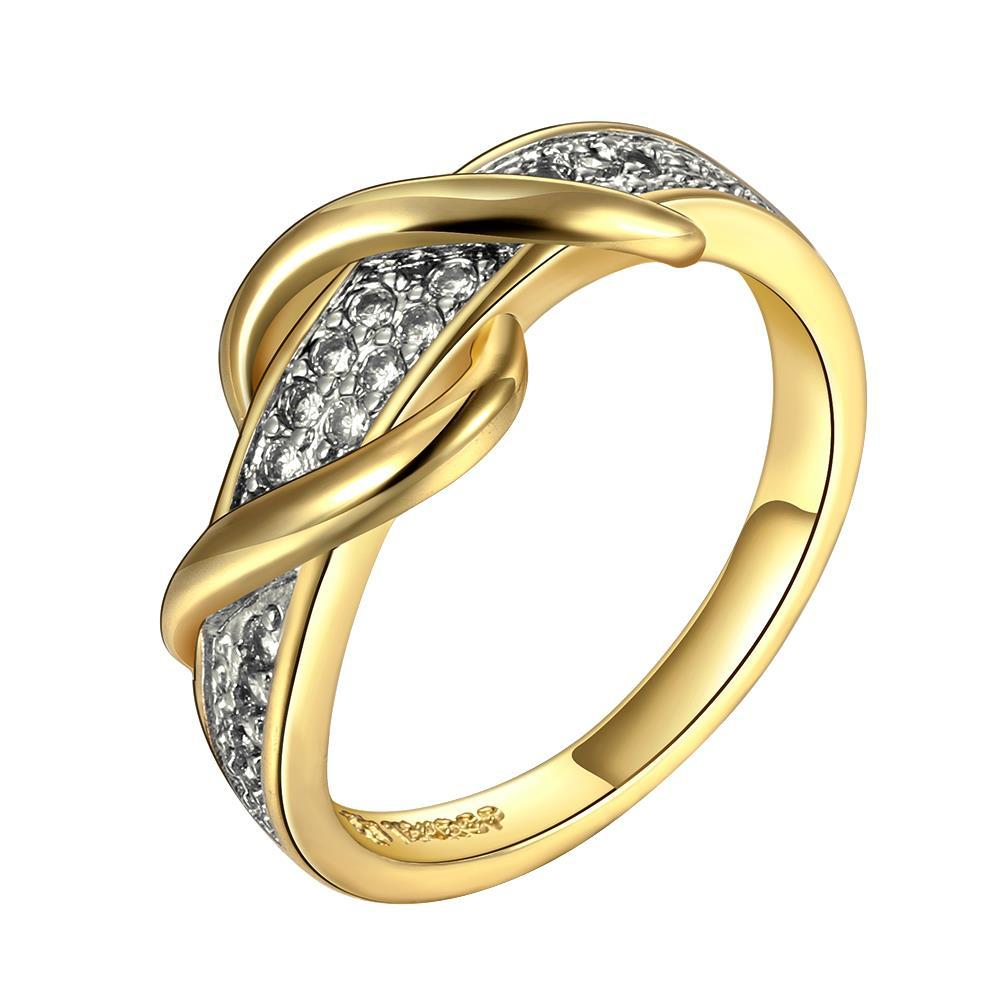 Vienna Jewelry Gold Plated Swirl Design Ring with Jewels Covering Size 8
