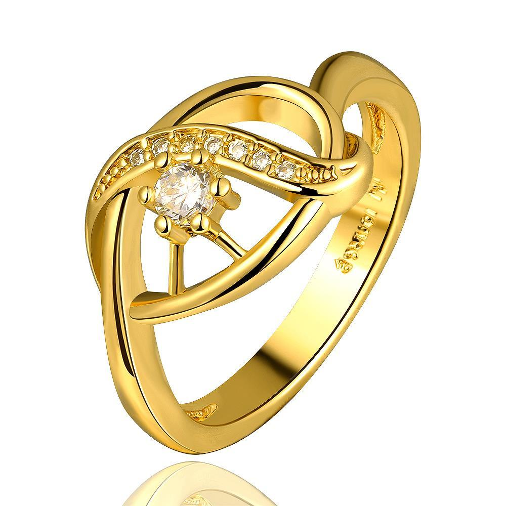 Vienna Jewelry Gold Plated Laser Cut Circular Emblem Ring Size 7