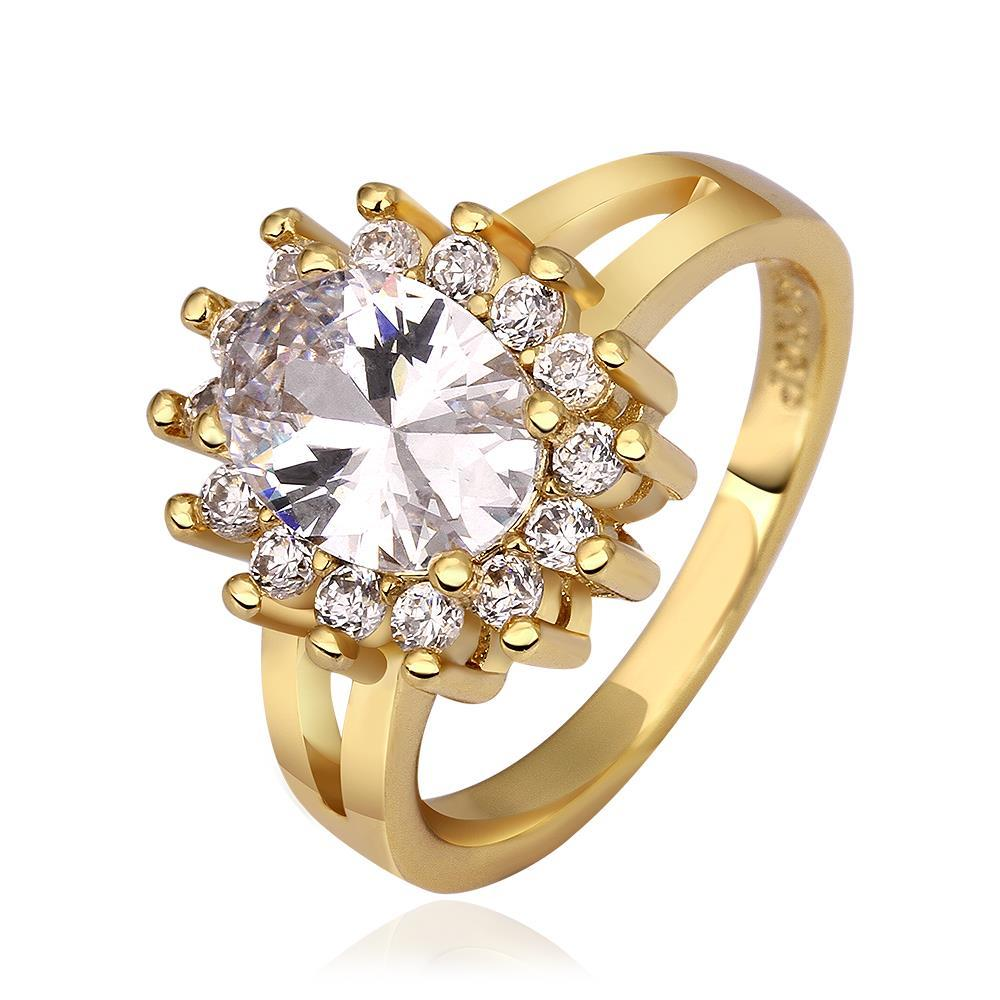 Vienna Jewelry Gold Plated Crystal Center Cocktail Ring Size 8