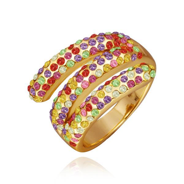 Vienna Jewelry Gold Plated Matrix Curved Rainbow Jewels Ring Size 8