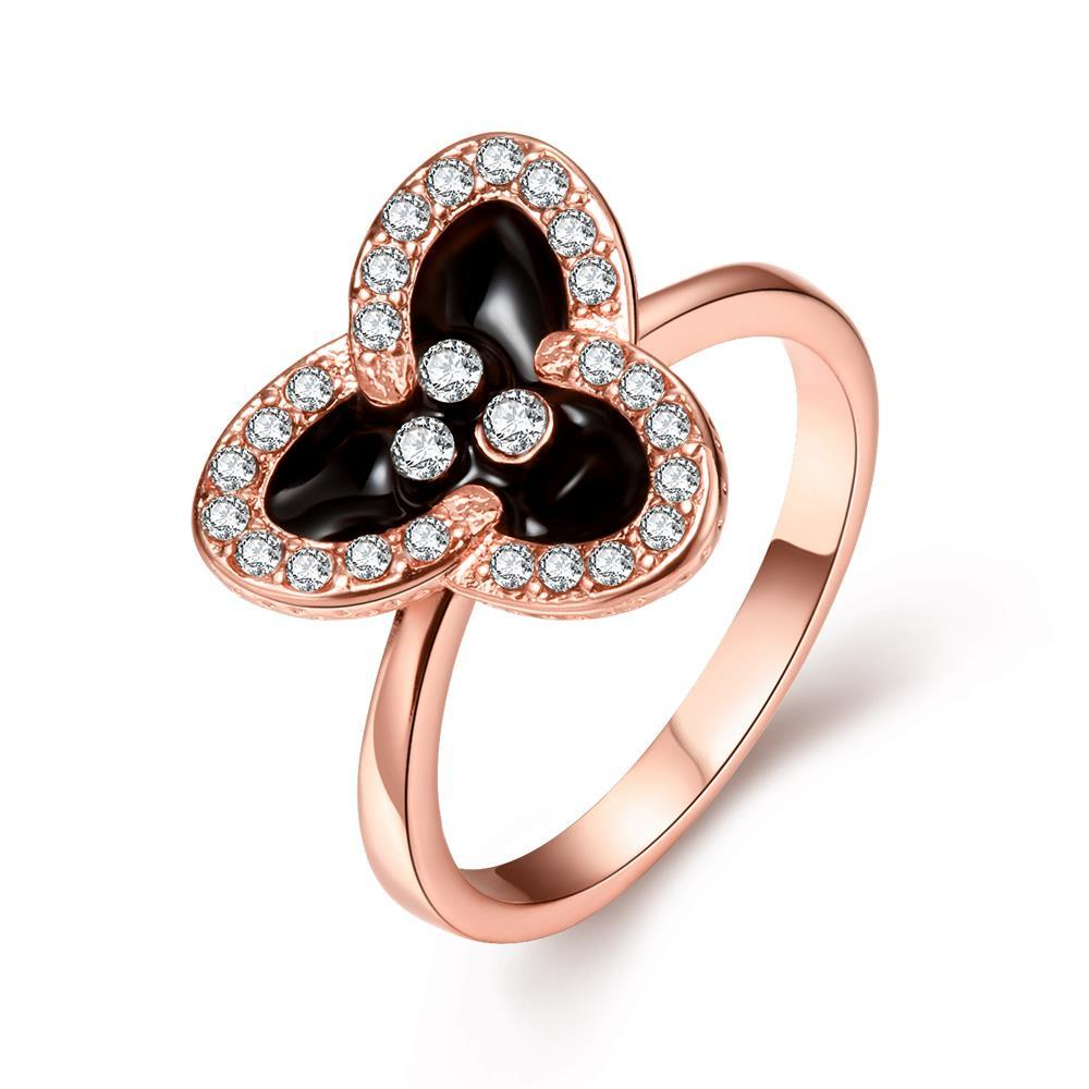 Vienna Jewelry Rose Gold Plated Triangular Clover Ring Size 7