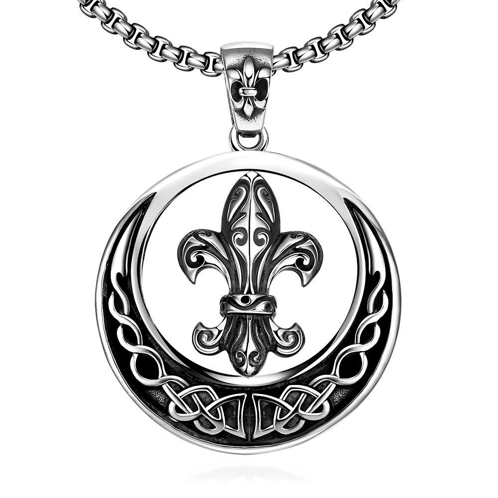 Vienna Jewelry Circular Saint Emblem Necklace