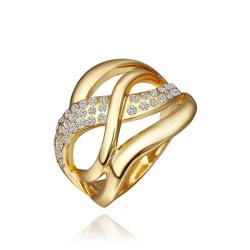 Vienna Jewelry Gold Plated Matrix Swirl Ring with Jewels Lining Ring Size 8 - Thumbnail 0