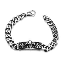 Vienna Jewelry New Orleans Emblem Stainless Steel Bracelet - Thumbnail 0