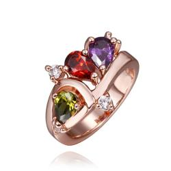 Vienna Jewelry Rose Gold Plated Trio-Jewels Rainbow Ring Size 8 - Thumbnail 0
