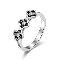 Vienna Jewelry White Gold Plated Trio-Petite Clover Stud Ring Size 8 - Thumbnail 0