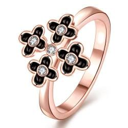 Vienna Jewelry Rose Gold Plated Quad-Petite Clover Cocktail Ring Size 8 - Thumbnail 0
