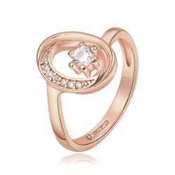 Vienna Jewelry Rose Gold Plated Petite Circular Emblem with Crystal Jewel Ring Size 8 - Thumbnail 0
