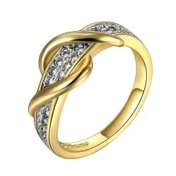 Vienna Jewelry Gold Plated Swirl Design Ring with Jewels Covering Size 8 - Thumbnail 0