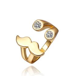 Vienna Jewelry Gold Plated Mustache Design Ring Size 8 - Thumbnail 0