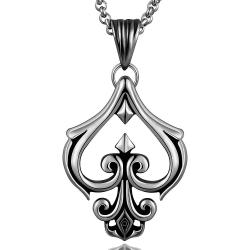 Vienna Jewelry Hollow Spade Emlem Stainless Steel Necklace - Thumbnail 0